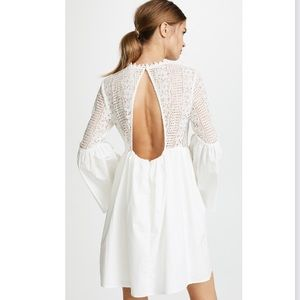 NWOT White Lace Backless Minidress w/ Bell Sleeves